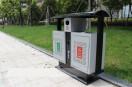 湖南湘潭钢制户外分类垃圾桶安装上岗