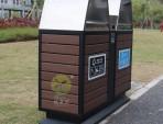 户外景区双分类钢木垃圾桶