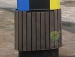 街道椭圆形分类钢木垃圾桶