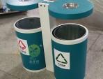 户外圆柱形分类钢制垃圾桶