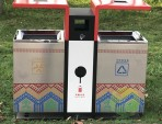 公园UV打印不锈钢两分类垃圾箱