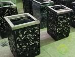 室内镂空方形钢制环卫垃圾桶