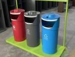 新款大型三分类钢制垃圾桶