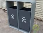 户外方形喷塑不锈钢分类垃圾桶
