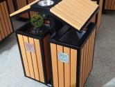 户外屋形两分类钢木垃圾箱