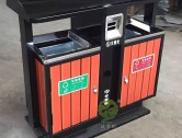 户外小区双分类钢木垃圾桶