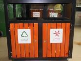 学校户外双分类钢制垃圾桶