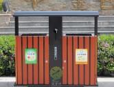 物业户外分类钢木垃圾箱