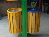 户外双筒钢木垃圾桶