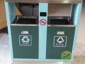 学校校园户外两分类钢制垃圾箱