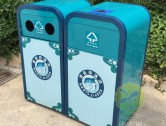 景区户外钢制双分类垃圾箱