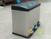 室内静音脚踏式三分类不锈钢垃圾箱