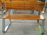 户外双人喷塑钢木园林椅