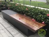户外长条形钢木休闲椅