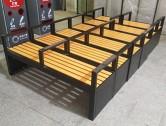 户外带扶手塑木双人休闲椅