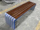 户外公园景区长条形钢木休闲椅