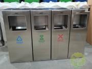 广场组合式不锈钢分类垃圾桶案例