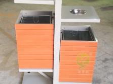 户外公园两分类钢木垃圾桶