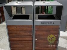 街道组合式分类钢木垃圾桶