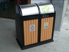 摇盖户外分类钢木垃圾桶