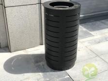 室外广场圆柱形钢制垃圾桶