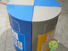圆柱形组合式分类钢制垃圾桶