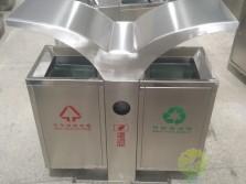 户外市政环卫不锈钢双分类垃圾箱