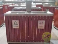 室外景区公园钢木分类垃圾箱