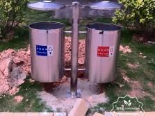 户外圆柱形不锈钢分类垃圾桶
