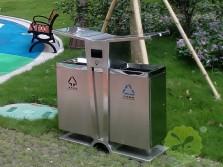 公园环保双分类不锈钢垃圾箱