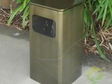 仿青古铜色方形不锈钢果皮箱