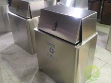 304推拉盖方形不锈钢垃圾桶