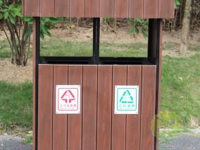 户外公园花箱钢木分类垃圾桶