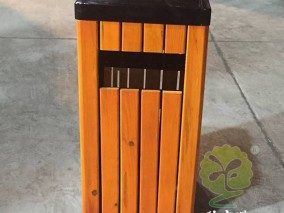 防腐木户外方形钢木果皮箱