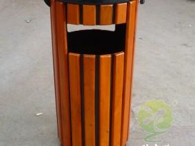 防腐木户外圆柱形钢木垃圾箱