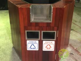 高铁站双面分类钢木垃圾桶花盆