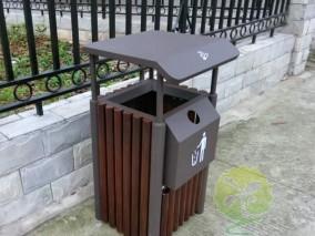 实木户外方形钢木果皮箱