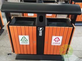 户外市政公园两分类钢木垃圾桶
