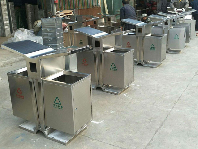 展翼不锈钢分类垃圾桶图