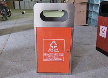 商场室内方形单桶不锈钢垃圾桶主图