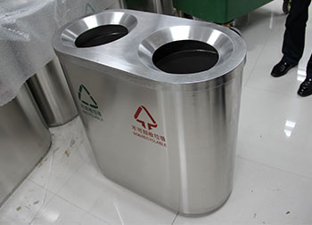 机场直投口不锈钢分类垃圾桶主图