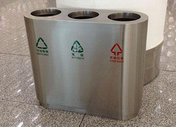 机场室内三分类不锈钢垃圾桶主图