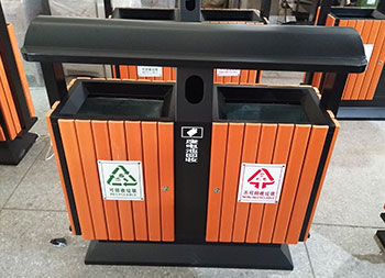 户外市政公园两分类钢木垃圾桶主图