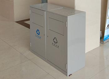 带盖环保钢制分类垃圾箱主图
