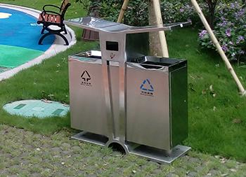 公园环保双分类不锈钢垃圾箱主图