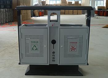 室外烤漆冲孔钢板分类垃圾桶主图