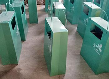商场创意方形钢板果皮箱主图