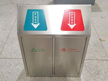 创意户外带盖分类不锈钢垃圾桶主图