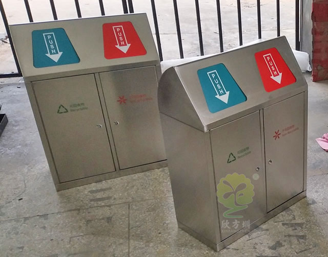 创意户外带盖分类不锈钢垃圾桶