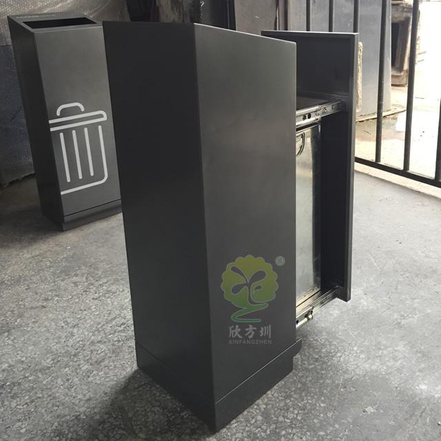 滑轨室内高档方形不锈钢果皮箱
